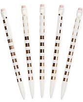 kate spade new york Gold Stripe Pencil Set