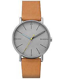 Skagen Men's Signature Tan Leather Strap Watch 40mm SKW6373
