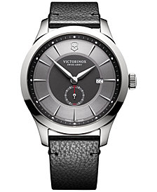 Victorinox Swiss Army Men's Alliance Black Leather Strap Watch 44mm