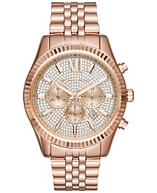 michael kors mens watches macy s michael kors men s chronograph lexington rose gold tone stainless steel bracelet watch 44mm mk8580