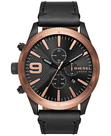 Diesel Men's Chronograph Rasp Chrono Black Leather Strap Watch 50mm DZ4445
