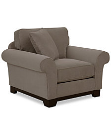 """Medland 44"""" Fabric Roll Armchair with 1 Toss Pillow, Created for Macy's"""