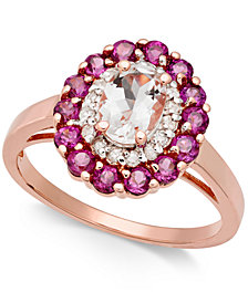 Multi-Gemstone (1-7/8 ct. t.w.) & Diamond (1/6 ct. t.w.) Ring in 14k Rose Gold