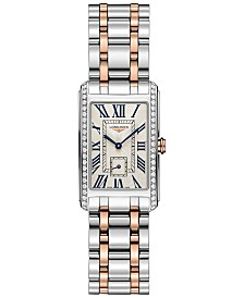 Longines Women's Swiss DolceVita Diamond (1/2 ct. t.w.) 18k Rose Gold & Stainless Steel Bracelet Watch 23x37mm