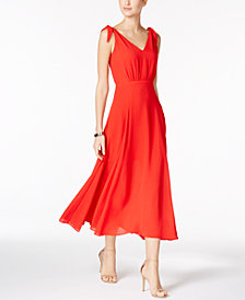 Betsey Johnson Tie-Detail V-Back Maxi Dress