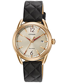 Citizen Women's Drive From Citizen Eco-Drive Black Leather Strap Watch 34mm