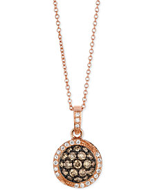 Le Vian® Diamond Cluster Pendant Necklace (5/8 ct. t.w.) in 14k Rose Gold