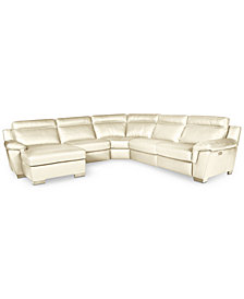 CLOSEOUT! Julius 5-pc Leather Sectional Sofa with Chaise and 1 Power Recliner, Created for Macy's