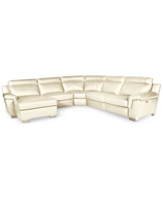 Julius 5 Pc Leather Sectional Sofa With Chaise And 1 Power Recliner,  Created For