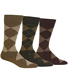 Ralph Lauren Men's Socks, Dress Argyle Crew 3 Pack Socks