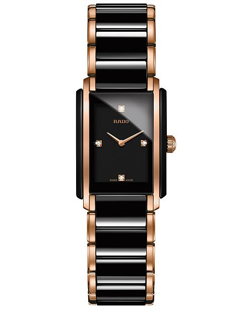 Rado Women's Swiss Integral Diamond Accent Two-Tone Stainless Steel & Ceramic Bracelet Watch 22x33mm R20612712