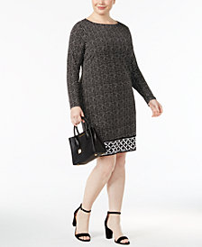 MICHAEL Michael Kors Plus Size Long-Sleeve Printed Shift Dress