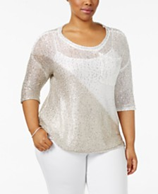 Belldini Plus Size Colorblocked Sequin-Knit Sweater