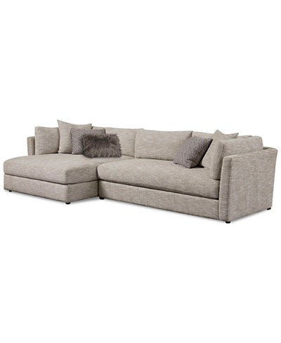 Leonora 2-Pc. Sectional with Chaise & 5 Toss Pillows, Created for Macy's