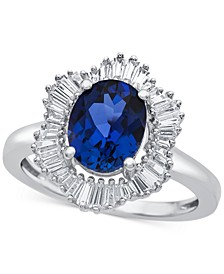 Lab-Created Blue Sapphire (1-7/8 ct. t.w.) and White Sapphire (3/4 ct. t.w.) Ring in Sterling Silver