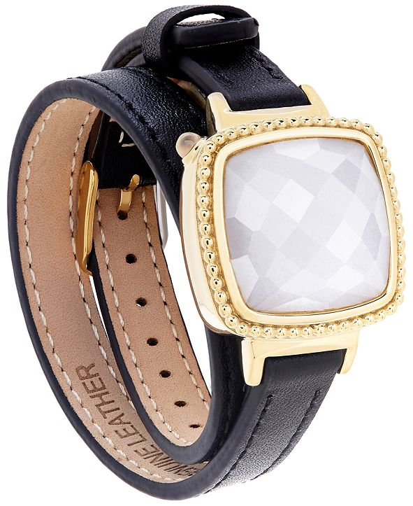 Macy's Ela Smart Jewelry Double Leather Wrap Bracelet in Quartz (13-1/5 ct. t.w.) and 14k Gold-Plated Stainless Steel