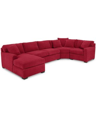 Radley 4-Piece Fabric Chaise Sectional Sofa - Custom Colors Created for Macyu0027s  sc 1 st  Macyu0027s : red sectional with chaise - Sectionals, Sofas & Couches