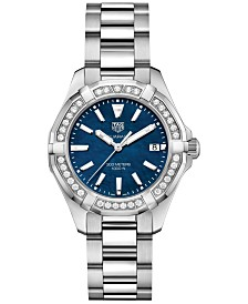 TAG Heuer Women's Swiss Aquaracer Diamond (5/8 ct. t.w.) Stainless Steel Bracelet Watch 35mm
