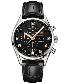 Men's Swiss Automatic Chronograph Carrera Calibre 16 Black Alligator Strap Watch 43mm
