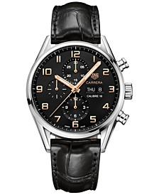 Men's Swiss Automatic Chronograph Carrera Calibre 16 Black Alligator Strap Watch 43mm
