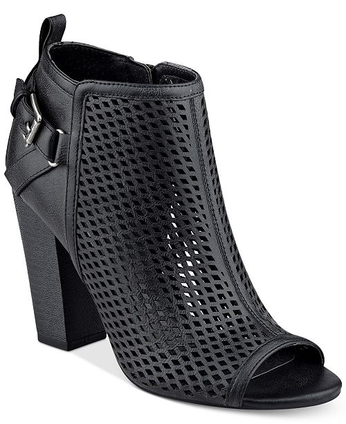 493ec952069 G by GUESS Jerzy Peep-Toe Block-Heel Booties   Reviews - Boots ...