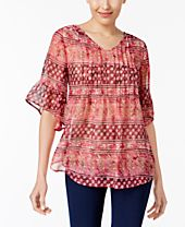 Style & Co Printed Ruffled Top, Created for Macy's