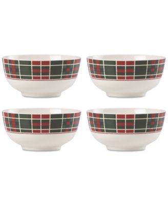 Vintage Plaid Set/4 Bowls