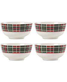 Lenox Vintage Plaid Set/4 Bowls