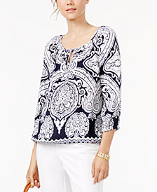 I.N.C. Petite Printed Tie-Neck Top, Created for Macy's