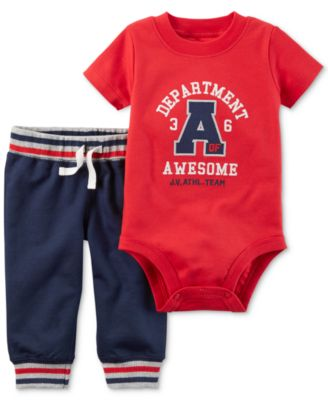Image of Carter's 2-Pc. Cotton Department of Awesome Bodysuit & Pants Set, Baby Boys (0-24 months)