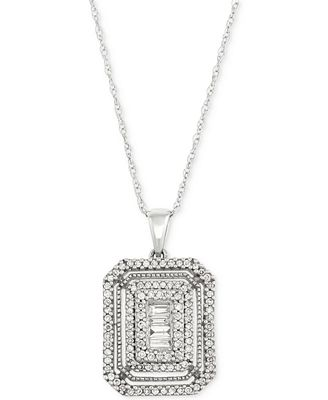 Diamond Cluster Pendant Necklace (1/2 ct. t.w.) in 14k White Gold