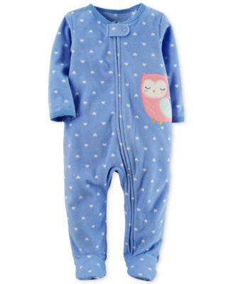 Image of Carter's 1-Pc. Heart-Print Owl Fleece Footed Coverall, Baby Girls (0-24 months)
