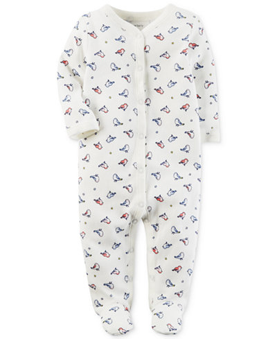 Carter's Baby Girls 1-Pc. Bird-Print Thermal Cotton Footed Coveralls