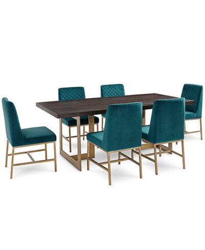 Cambridge Dining Furniture, 7-Pc. Set (Dining Table & 6 Teal Side Chairs), Created for Macy's