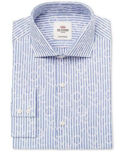 Ben Sherman Men's Slim-Fit Blue End on End Jacquard Stripe Dress Shirt