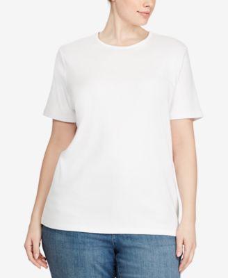 Plus Size Ribbed Logo Crewneck T-Shirt