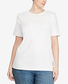 Lauren Ralph Lauren Plus Size Ribbed Logo Crewneck T-Shirt