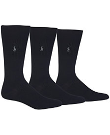 Polo Ralph Lauren Men's 3 Pack Ribbed Dress Socks