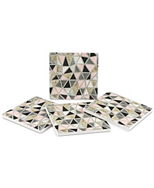 Thirstysone Marbled Geo Blush 4-Pc. Coaster Set