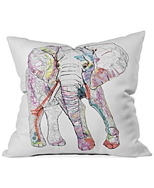 "Casey Rogers Elephant 1 16"" Square Decorative Pillow"