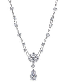 Nina Silver-Tone Cubic Zirconia Double-Strand Pendant Necklace