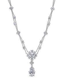 Nina Silver-Tone Cubic Zirconia Double-Strand Pendant Necklace