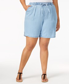 Karen Scott Plus Size Lisa Cotton Pull-On Shorts, Created for Macy's