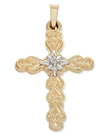 Diamond Accent Two-Tone Filigree Cross Pendant in 14k Gold & White Gold