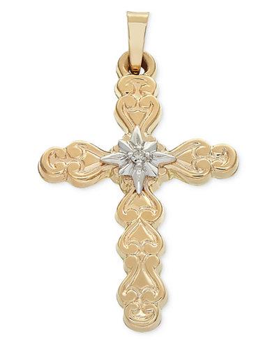 Diamond accent two tone filigree cross pendant in 14k gold white diamond accent two tone filigree cross pendant in 14k gold white gold aloadofball Image collections