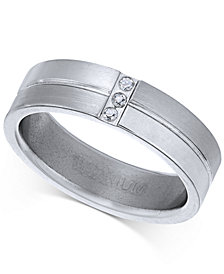 Sutton by Rhona Sutton Men's Titanium Cubic Zirconia Ring