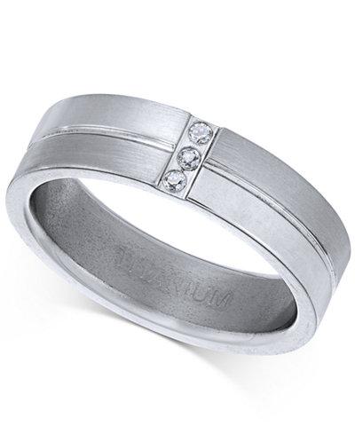 Sutton by Rhona Sutton Men's Titanium Cubic Zirconia Ring