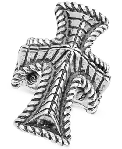 Decorative Cross Ring in Sterling Silver
