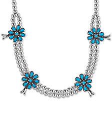 Genuine Turquoise (5-1/5 ct. t.w.) Flower Beaded Statement Necklace