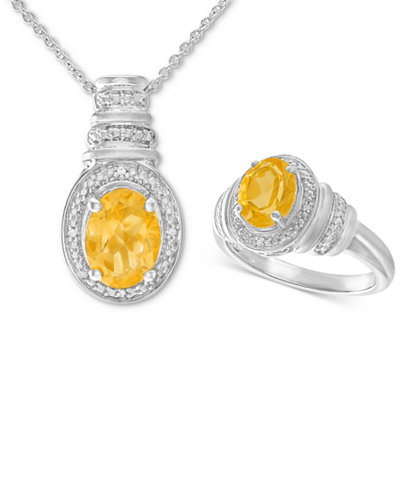 Citrine (2-1/10 ct. t.w.) & Diamond Accent Pendant Necklace and Matching Ring in Sterling Silver